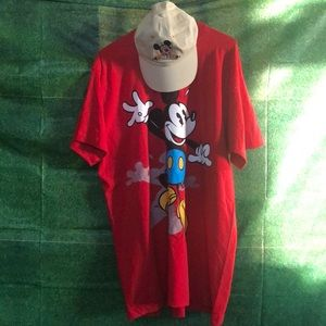 Vintage Mickey Mouse Tee and Mickey Hat